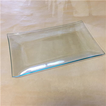 "Clear ""BENT"" Glass Rectangle Plate"