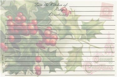 Holly and Ivy Recipe Cards - C125RECIPE