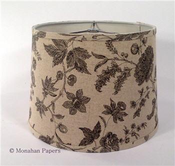 """12"""" Black Floral Damask Drum Lamp Shade - LSBLKFloral"""