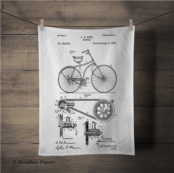 C.D. Rice Bicycle Patent Tea Towel - PAT201TT