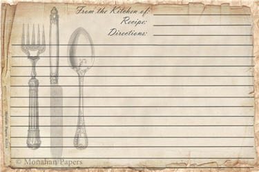 Knife Fork & Spoon Recipe Cards - SPS343RECIPE