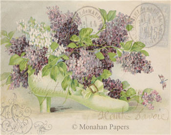 Green Shoe with Lilacs - SPS923