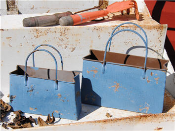 French Countryside Chippy Blue Side Table Bags