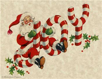 JOY Santa Riding Candy Cane - C274