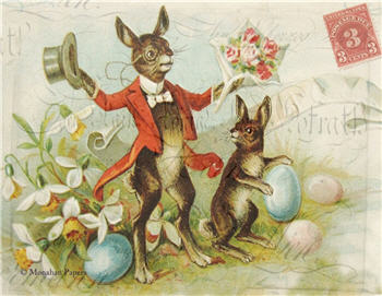 Dancing Red Tuxedo Bunny - E104