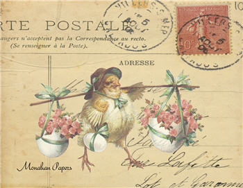 Chick with Flowers Postcard - E71