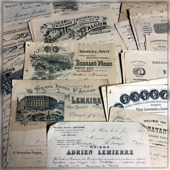 Antique French Document Receipt Pages