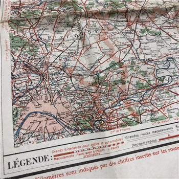 Large French Map with PARIS
