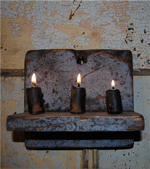 Slate Blue Chippy Hanging Candle Shelf