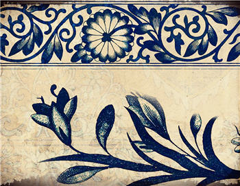 Blue Indigo Floral Border - SPS822