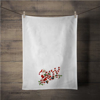 Joy Santa Candy Cane Tea Towel - C274TT
