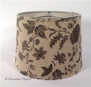 "12"" Black Floral Damask Drum Lamp Shade - LSBLKFloral"
