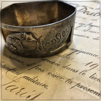 "Silver ""Monsieur"" Napkin Ring"