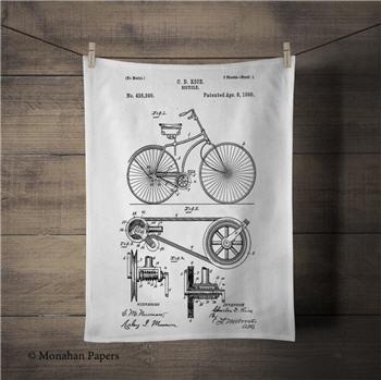 C.D. Rice Bicycle Patent Tea Towel - PAT201TT