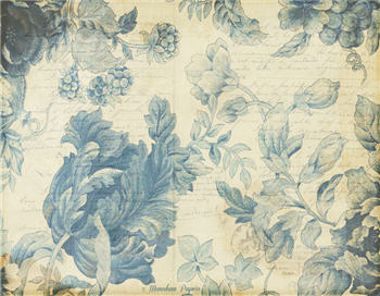 Blue Indigo Damask Cabbage Flowers - SPS919A