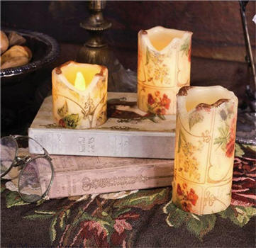 Floral Flicker Candles - Set of 3 - X295