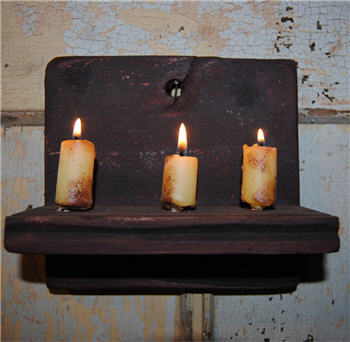 Black Chippy Hanging Candle Shelf