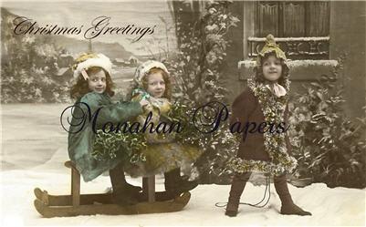 Sledding Girls Christmas Greeetings - C103