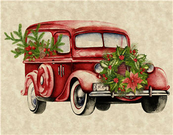 Vintage Red Christmas Car - C377