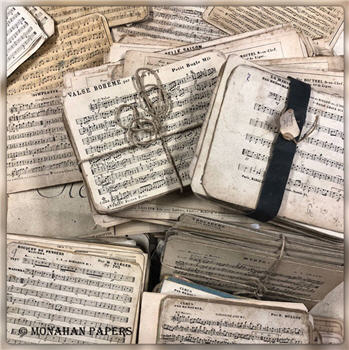 Antique French Music Cards - Available in 2 Sizes