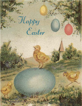Happy Easter Blue Egg Chick - E101