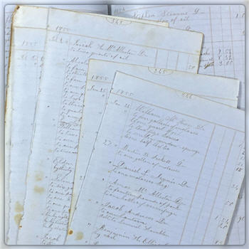 Blue Ledger Pages Dated 1854-1857 - Calligraphy