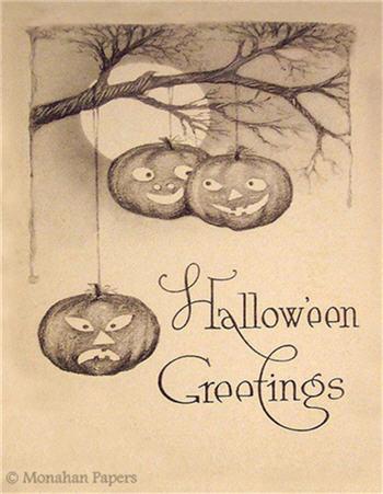 Hanging Pumpkin Greetings - H23
