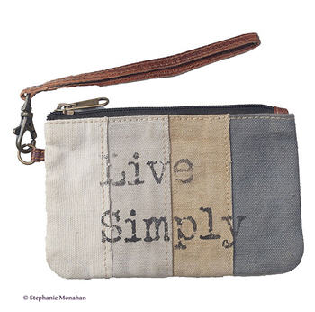 Live Simply Striped Pouch