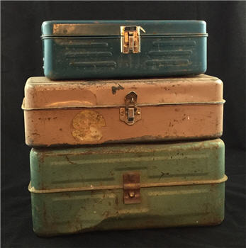 Antique Metal Box Stack